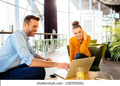 Two colleagues sitting in restaurant together and working on laptop
