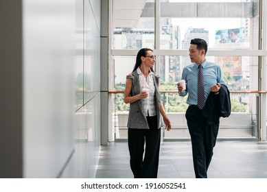 Two colleagues walking and talking in office hall. Coworkers walking with coffee in modern office building