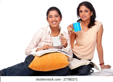 Two college student studying together