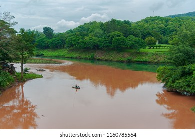 Two color river in Thailand.