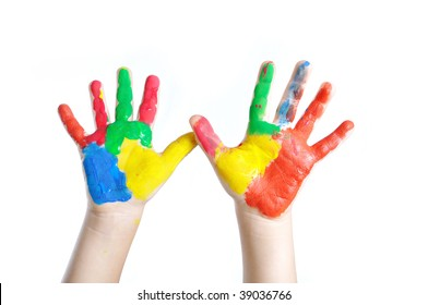 Two colored child's hands
