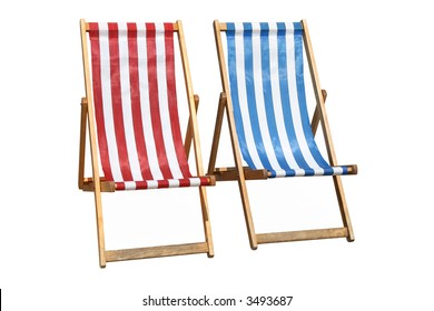 Two colorful deckchairs, isolated on a white background.