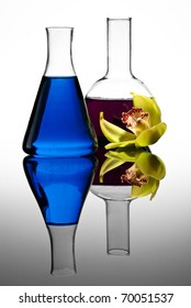 Two colorful flasks with flower, isolated on white