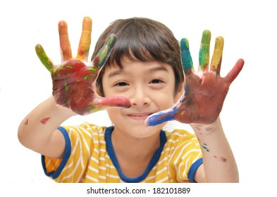 Two Colorful hands , boy