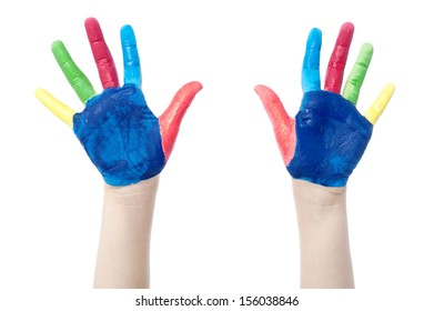 The two colorful hands with many colors