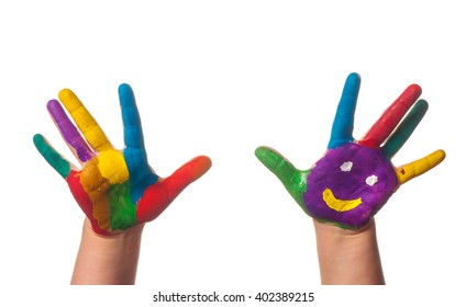 Two colorful hands with smile painted with different colors of child as logo isolated on white background with clipping path