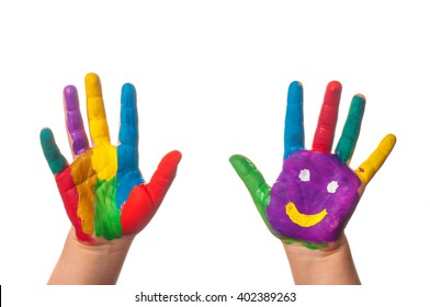 Two colorful hands with smile painted with different colors of child