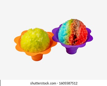 Two colorful Hawaiian shave ice servings side by side on a white background