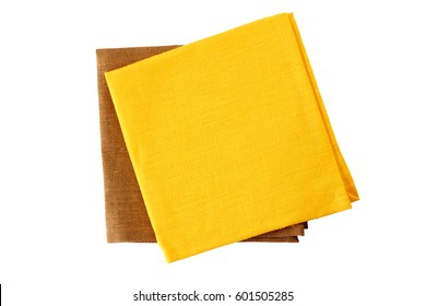 Two colorful napkins, yellow and brown, on white