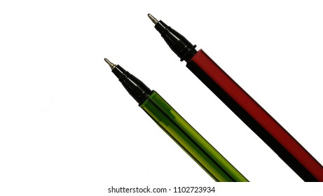 Two colorful pens isolated on white background