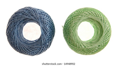 two colorful of rope rolls