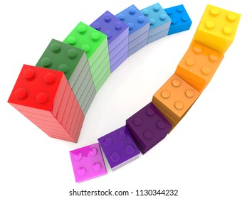 Two colorful rows of toy bricks.3d illustration