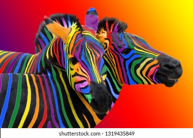 Two colorful zebra painted in the colors of the rainbow, cuddling on a colorful bright background. Not like everyone else, other.