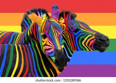 Two colorful zebras painted in the colors of the rainbow cuddle on the background of the lgbt flag. The concept of same-sex love and gender equality.