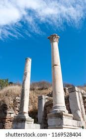 Two columns in ruins of ancient Greek city Ephesus (Turkey).