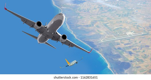 Two comerical passenger airplanes in the sky with busy air traffic - Airplane taking off from the airport
