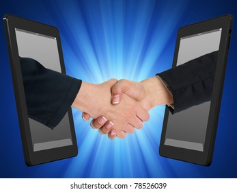 Two Computer Device and Hands in handshaking, Internet Working Concept, Wireless Communication, Online Business