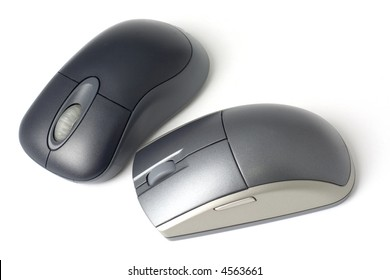 Two computer mouse isolated on white background