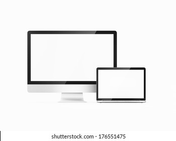 two computers with white screen on a white background isolated