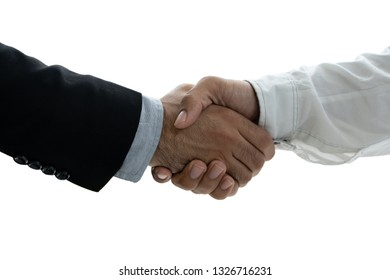 Two confident business man shaking hands on white background