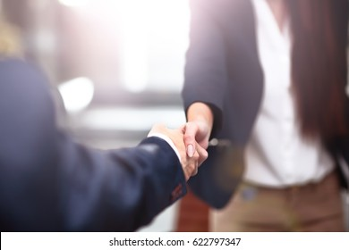 Two confident business man shaking hands during a meeting in the office, success, dealing, greeting and partner concept.