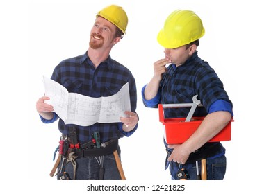 Two construction workers with architectural plans on white background