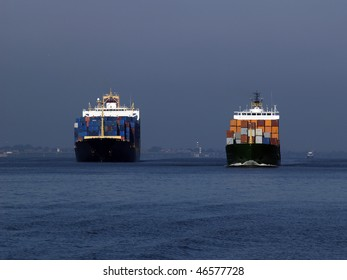 Two Containerships on the Elbe.
