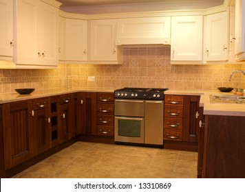 Two contemporary kitchen designs in showroom