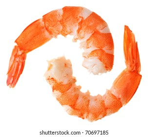 Two cooked unshelled tiger shrimps isolated on white