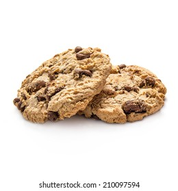 Two cookies isolated on white background