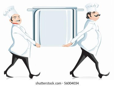 two cooks are framed in the form of pots