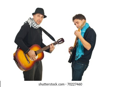 Two cool guys singing with electronic and acoustic guitars isolated on white background