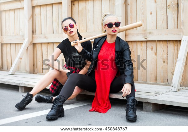 Two Cool Trendy Bold Hipster Women Stock Photo Edit Now