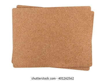 two cork mat isolated on white background, smalll natural shadow underneath