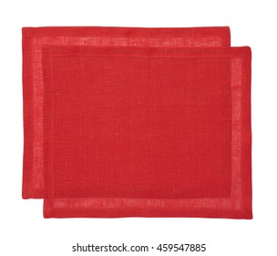 Two cotton napkin isolated on white background. View from above.  Include clipping path.