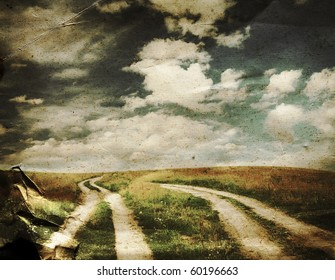 two country roads in the fields