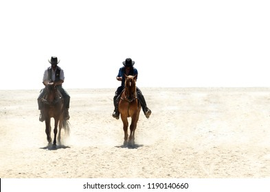 Two cowboys riding horses on a sandy ground isolated over white. one of them is the sheriff. Two horsemen