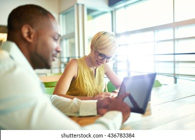 Two creative millenial small business owners working on social media strategy using a digital tablet while sitting at desk