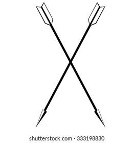 Two crossed arrows raster illustration. Arrow weapon. Archery