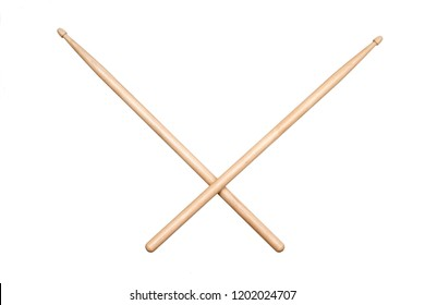 two crossed drumsticks on white background