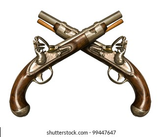 Two Crossed Flintlock Pistols against white background. Flintlock pistols manufactured by gunmaker Simeon North circa 1813, although similar to what was used during the American Revolution.