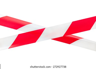 Two crossed red and white tapes isolated on white background. This tapes are using as a sign to mark and prevent from dangerous or risky zones.