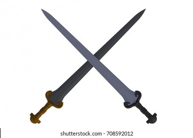 Two crossed swords, isolated on white background, 3D rendering
