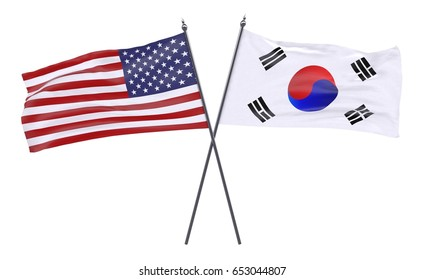 Two crossed waving flags, USA and Republic of Korea, isolated on white background. 3d illustration