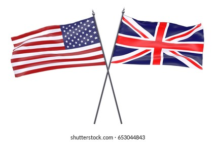 Two crossed waving flags, USA and Great Britain, isolated on white background. 3d illustration