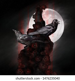 Two crows, ravens sitting on a dead tree with roses, dark, gothic romantic mood, can be used as background