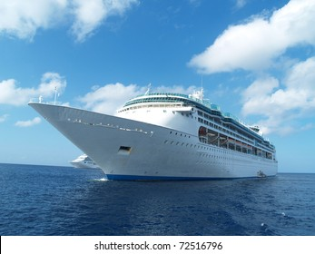 Two cruise ships in caribbean waters