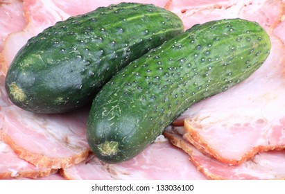 two cucumber on ham meat