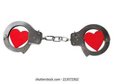 Two cuffed hearts isolated on white background