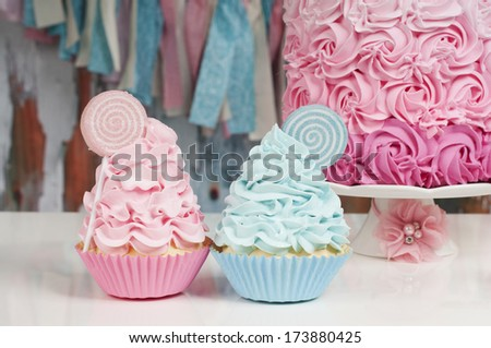 Two Cupcake Baby Blue Baby Pink Stock Photo Edit Now 173880425
